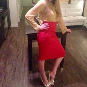 BEBE orange stretchy midi skirt